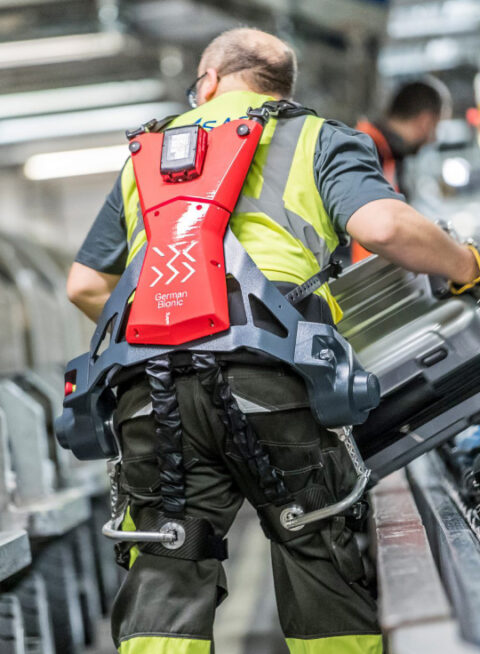 Worker using German Bionic exoskeleton